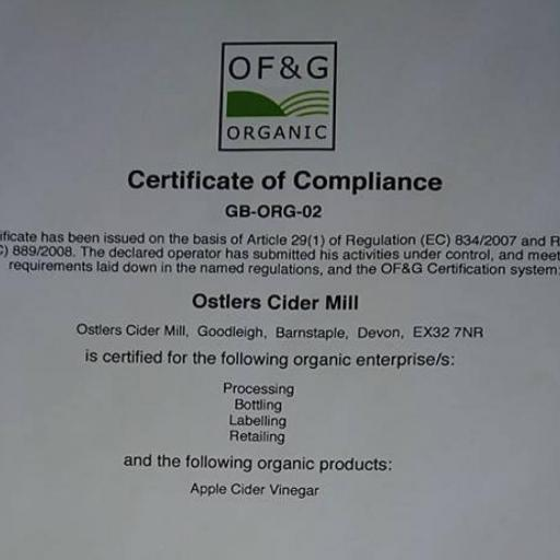 Ostlers organic apple cider vinegar 2018